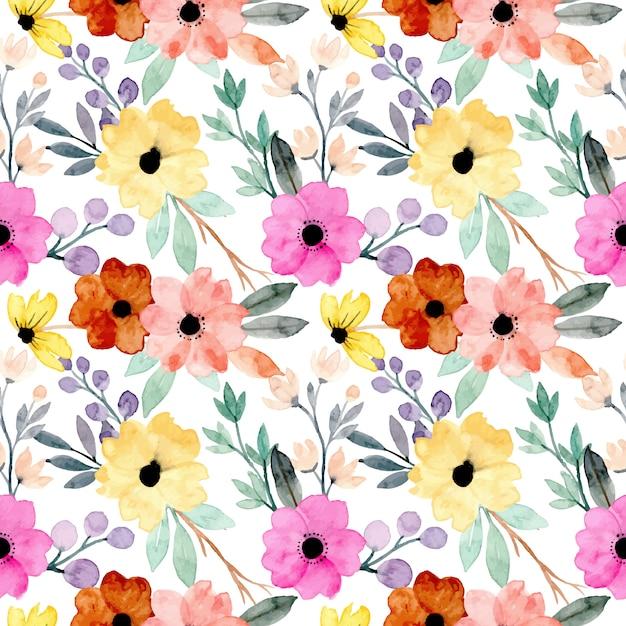 Modello senza cuciture floreale dell'acquerello colorato Vettore Premium