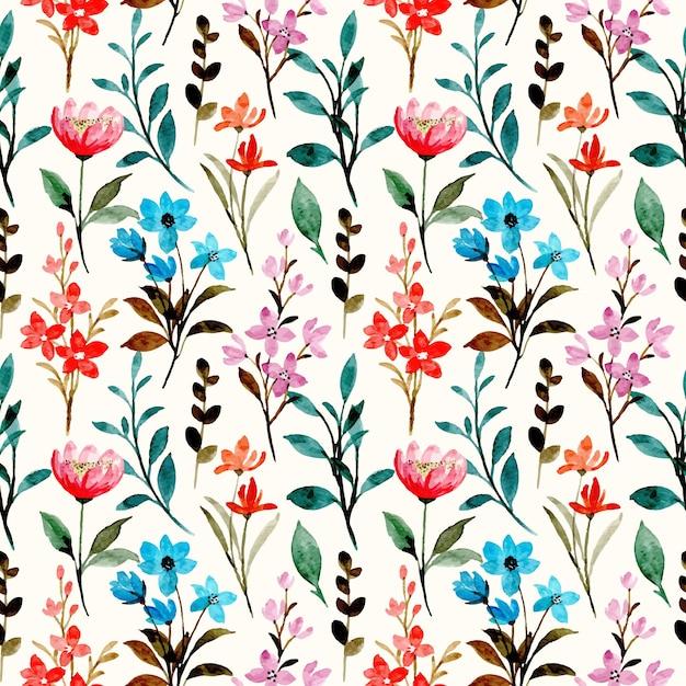Modello senza cuciture dell'acquerello floreale selvaggio colorato Vettore Premium