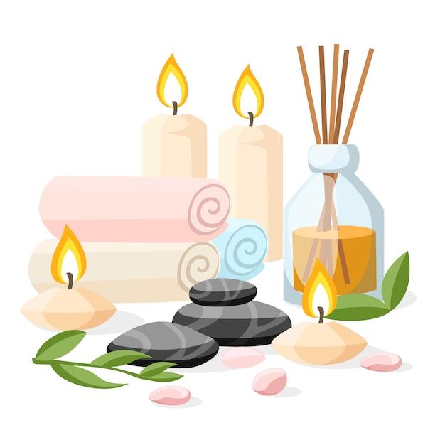 Colorfull spa strumenti e accessori massaggio basalto nero pietre erbe arrotolate candele asciugamano e illustrazione olio su sfondo bianco e blu con posto per il vostro testo Vettore Premium