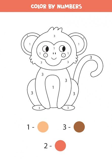 Libro Da Colorare Per Numeri Scimmia Simpatico Cartone Animato Vettore Premium
