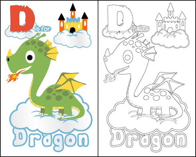 Cartone animato libro da colorare con bel drago Vettore Premium