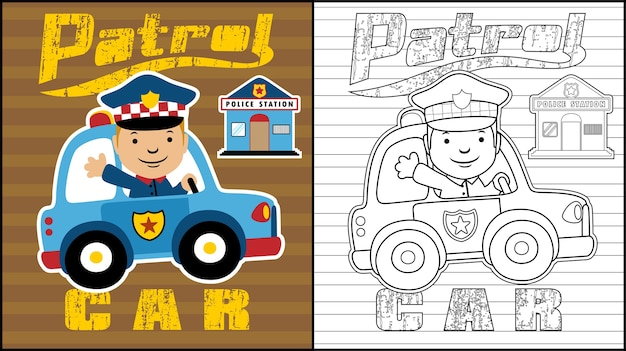 Libro Da Colorare O Pagina Con Cartone Animato Di Pattuglia Della Polizia Vettore Premium