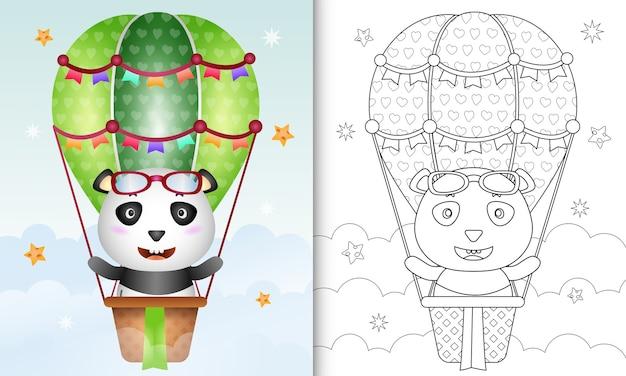 Libro da colorare con un simpatico panda illustrazione in mongolfiera Vettore Premium