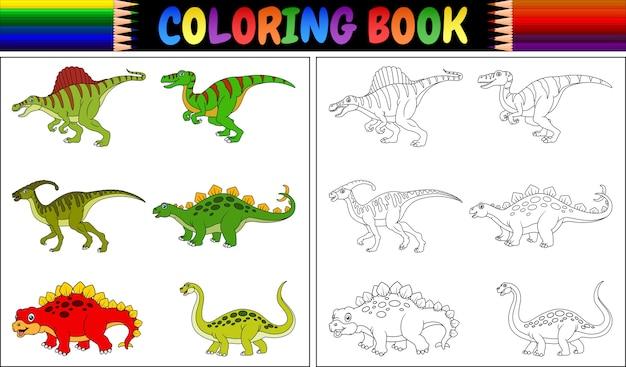Libro Da Colorare Con La Collezione Di Dinosauri Dei Cartoni Animati Vettore Premium