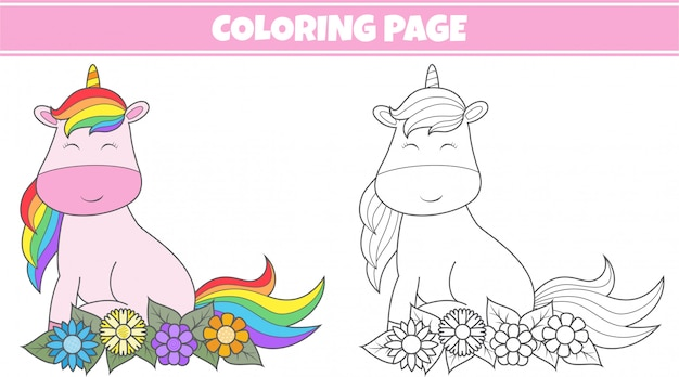 Colorare unicorno carino Vettore Premium