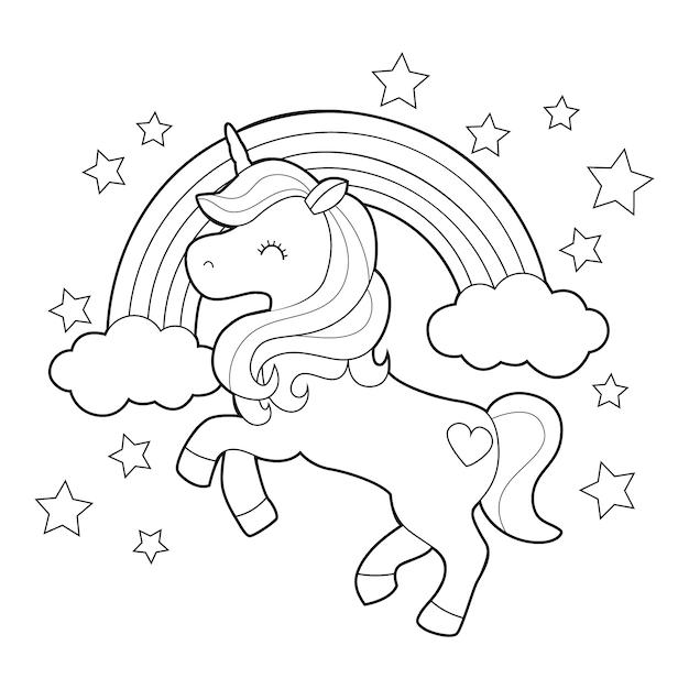 Disegno da colorare con unicorno carino Vettore Premium