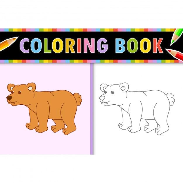 Disegno Da Colorare Contorno Di Un Orso Dei Cartoni Animati Illustrazione Colorata Libro Da Colorare Per Bambini Vettore Premium