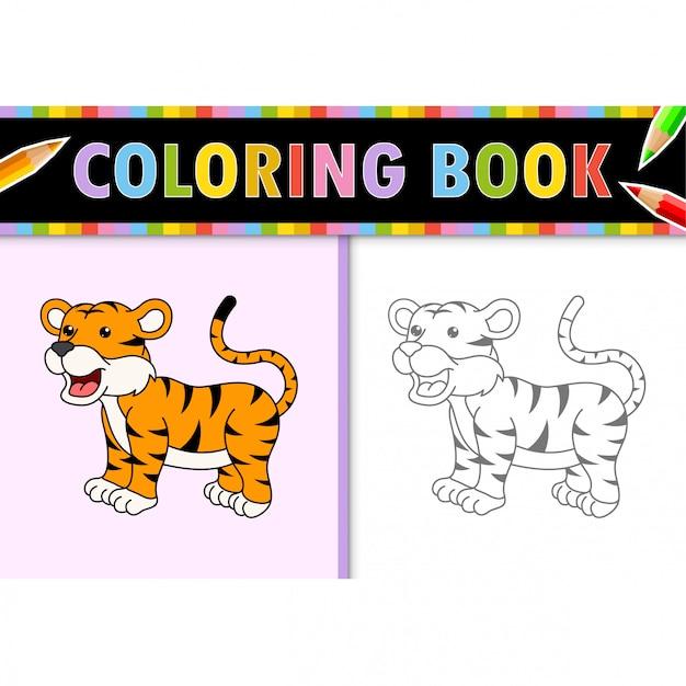 Disegni Da Colorare Contorno Della Tigre Del Fumetto Illustrazione Colorata Libro Da Colorare Per Bambini Vettore Premium