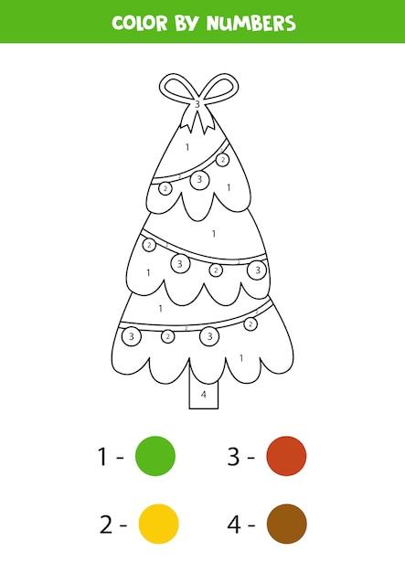 Pagina da colorare con albero di natale simpatico cartone animato. colora in base ai numeri. gioco di matematica educativo per bambini. Vettore Premium