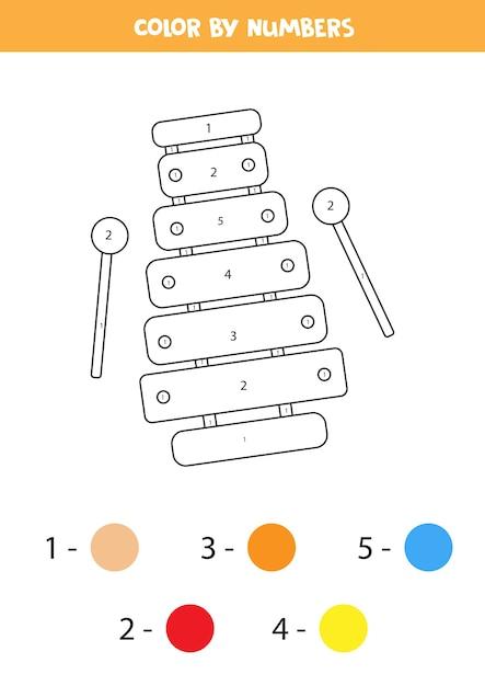 Pagina da colorare con xilofono giocattolo. colora in base ai numeri. foglio di lavoro educativo per bambini. Vettore Premium