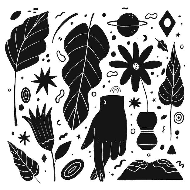 Illustrazioni incolori in design piatto Vettore Premium