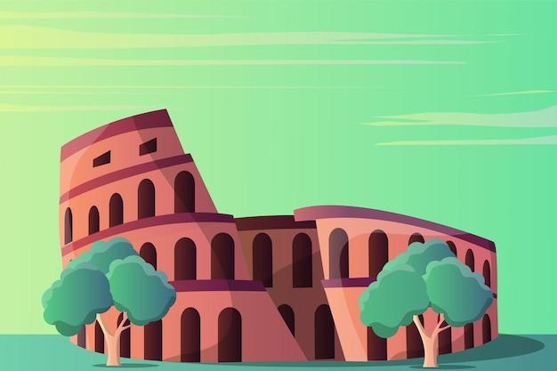 Paesaggio dell'illustrazione del colosseo per un'attrazione turistica Vettore Premium