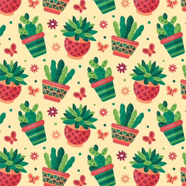 Modello di piante di cactus diversi colorati Vettore Premium