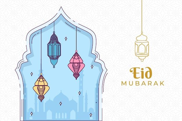Eid mubarak disegnato a mano delle lanterne Vettore Premium