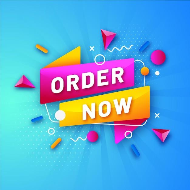 Modello di banner di ordine promozionale colorato ora Vettore Premium
