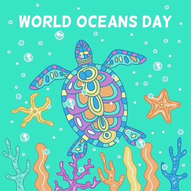 Giorno di oceani disegnato a mano colorato tartaruga Vettore Premium