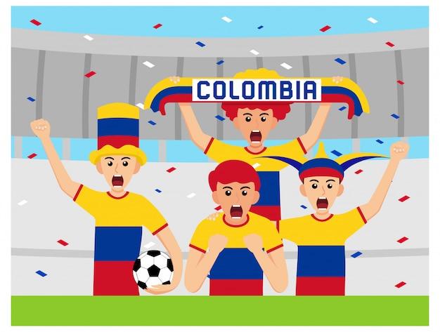 Columbia supporters in design piatto Vettore Premium