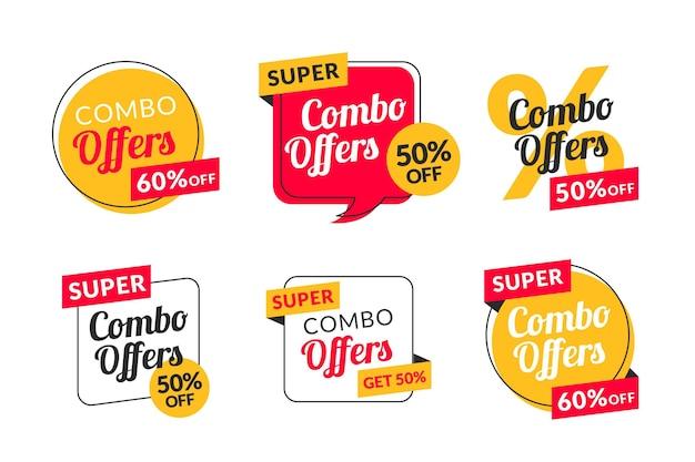 Combo offre la raccolta di etichette Vettore Premium