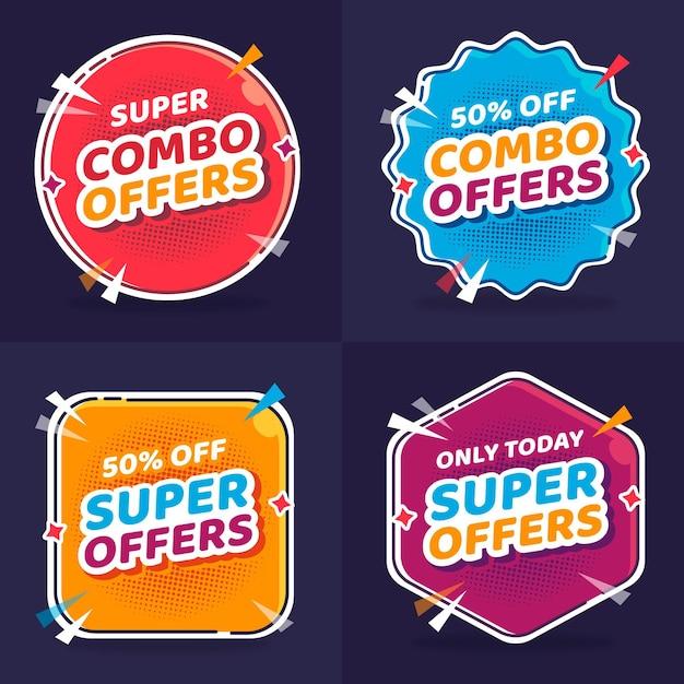 Offerte combinate - concetto di etichette Vettore Premium