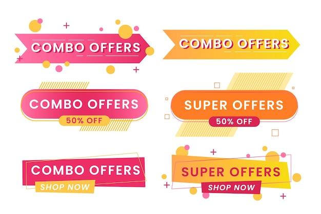 Combo offre set di etichette Vettore Premium