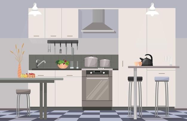 Confortevole cucina moderna interni Vettore Premium