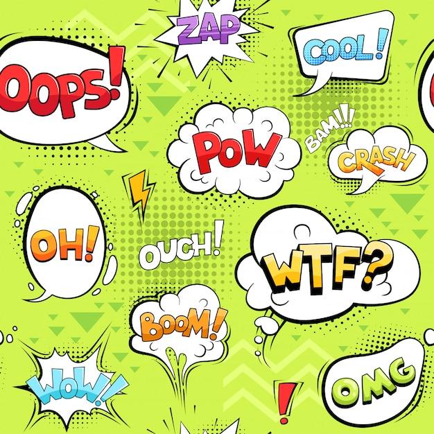 Bolle comiche impostate. il fumetto esplode le forme del cerchio parlano dei suoni Vettore Premium