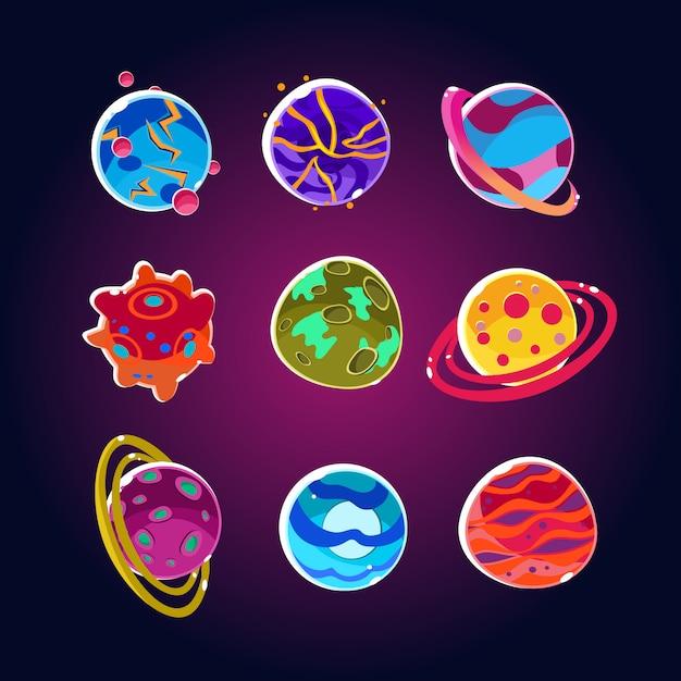 Set di pianeti comici e asteroidi spaziali Vettore Premium