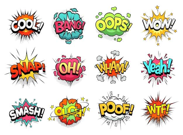 Nuvole di segno comico. boom bang, wow e fantastici fumetti Vettore Premium