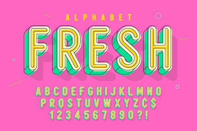 Carattere lineare comico, alfabeto colorato, carattere tipografico Vettore Premium