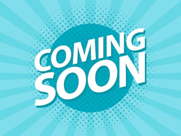 Prossimamente poster vintage retrò. modello di volantino di promozione Vettore Premium