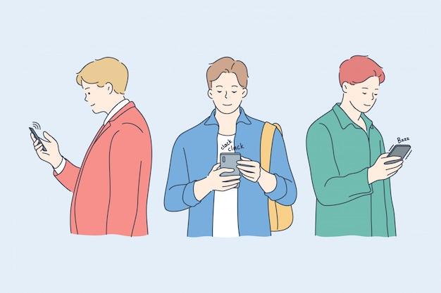 Comunicazione, dipendenza, tecnologia, social media, concetto di amicizia. Vettore Premium