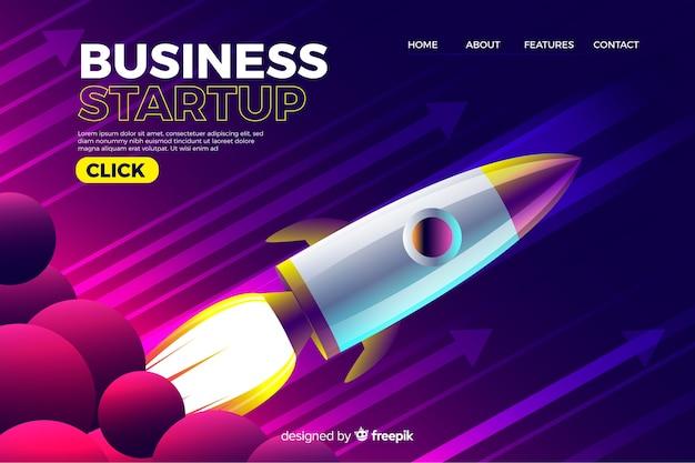 Pagina di destinazione aziendale con razzo Vettore Premium