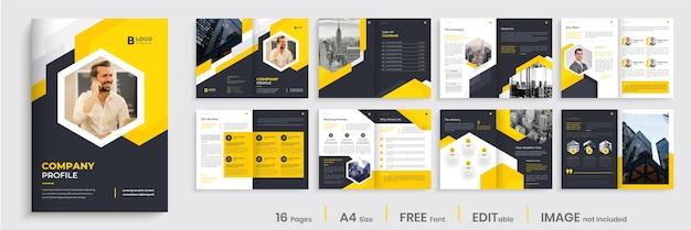 Design del modello del profilo aziendale, design del profilo aziendale creativo Vettore Premium