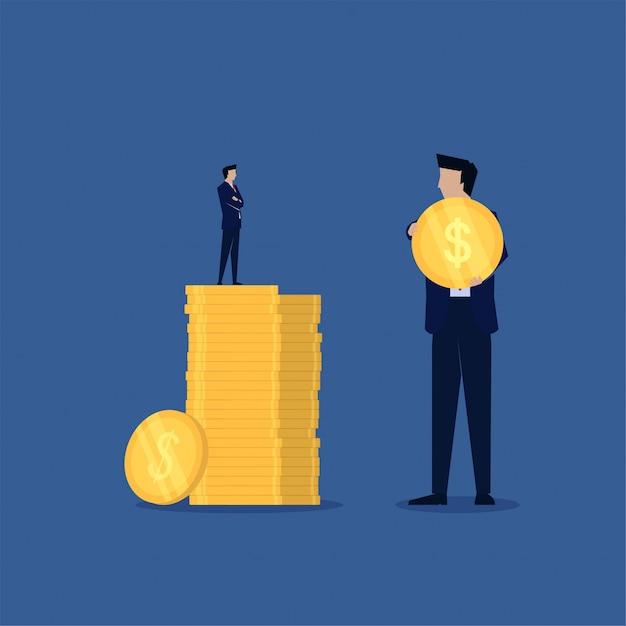 Confronta le piccole imprese con un alto profitto e un grande business con un basso profitto. Vettore Premium