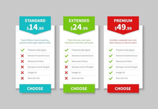 Listino prezzi di confronto. tabella del piano prezzi, tabella tariffaria comparativa dei prezzi dei prodotti. modello di banner di opzione infografica aziendale Vettore Premium