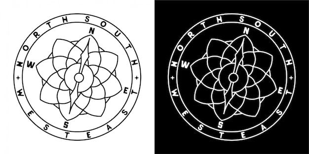 Compass badge design Vettore Premium