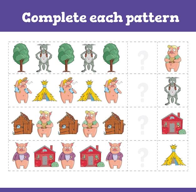 Completa ogni schema giochi educativi con tre porcellini. foglio di lavoro prescolare o asilo nido. Vettore Premium