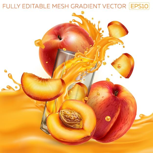Composizione di pesche fresche e un bicchiere con una spruzzata dinamica di succo di frutta. Vettore Premium