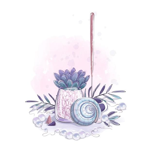 Composizione con conchiglia, succulento, foglie di bastoncino di incenso e perle. Vettore Premium