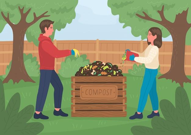 Compostaggio. uomo e donna che fanno il compost all'aperto nel giardino. concetto di riciclaggio. Vettore Premium