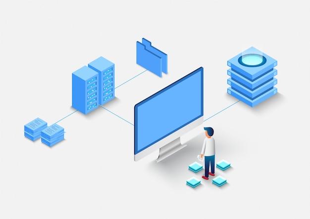 Calcolo di grandi data center, elaborazione delle informazioni, database. instradamento del traffico internet, rack della sala server isometrico. Vettore Premium