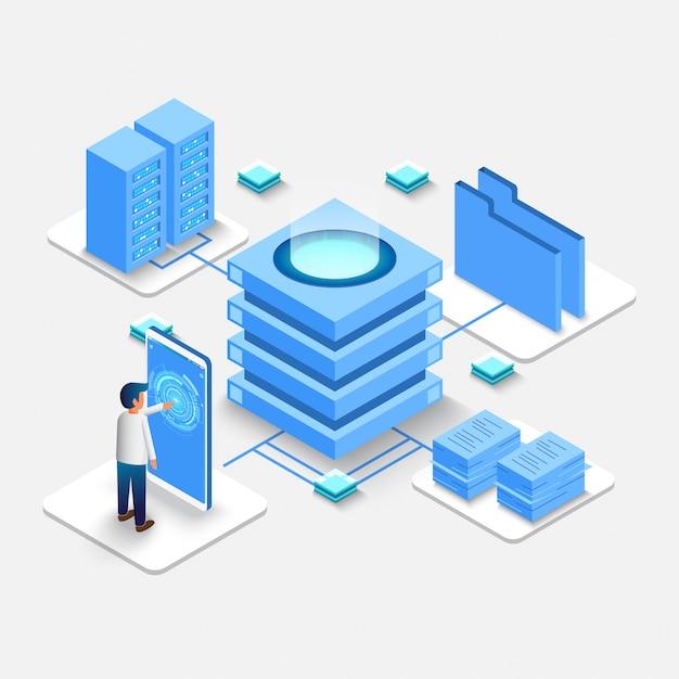 Calcolo del big data center, database di elaborazione delle informazioni. Vettore Premium