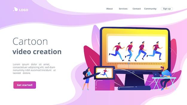 Pagina di destinazione del concetto di animazione al computer Vettore Premium