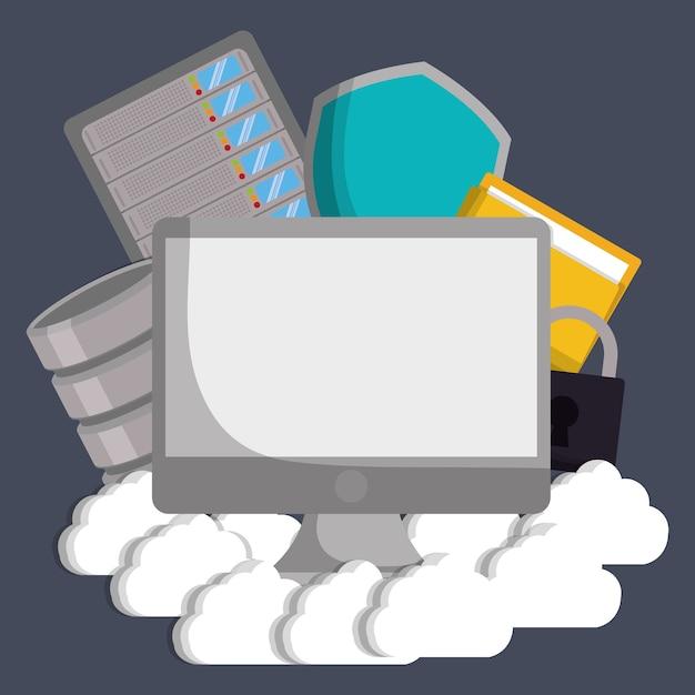 Icona di lucchetto e scudo di file cloud computer Vettore Premium