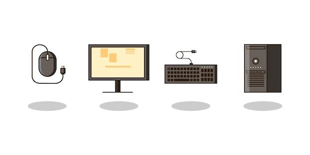 Set di computer e attrezzature Vettore Premium