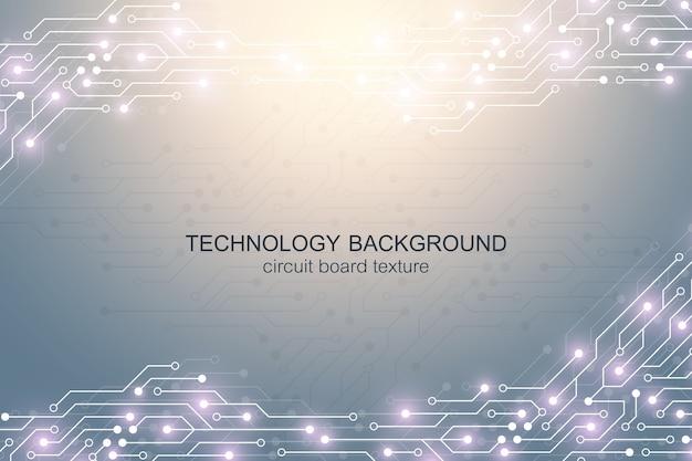 Sfondo della scheda madre del computer con elementi elettronici del circuito. Vettore Premium