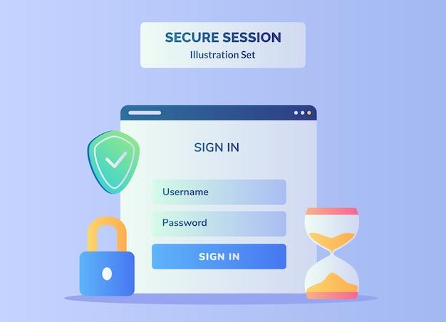 Schermo del computer con accesso nome utente password Vettore Premium