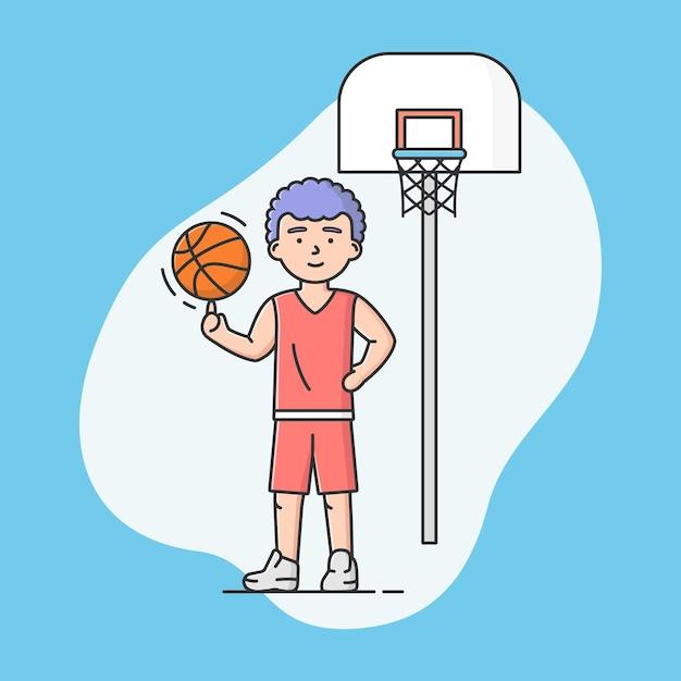 Concetto di sport attivo e stile di vita sano. giovane ragazzo allegro gioca a basket a scuola o all'università. giocatore di basket. giochi di squadre sportive. illustrazione di vettore di stile piano del profilo lineare del fumetto. Vettore Premium