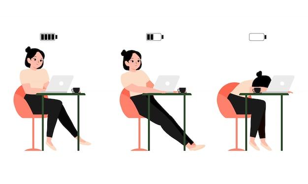 Concetto burnout donna che lavora o studente seduto a un tavolo e laptop con batteria piena, metà e bassa. dipendente o studente stanco. illustrazione felice, annoiato ed esausto impiegato femminile Vettore Premium