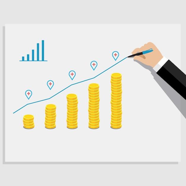 Concetto di successo aziendale. grafico con monete d'oro. Vettore Premium